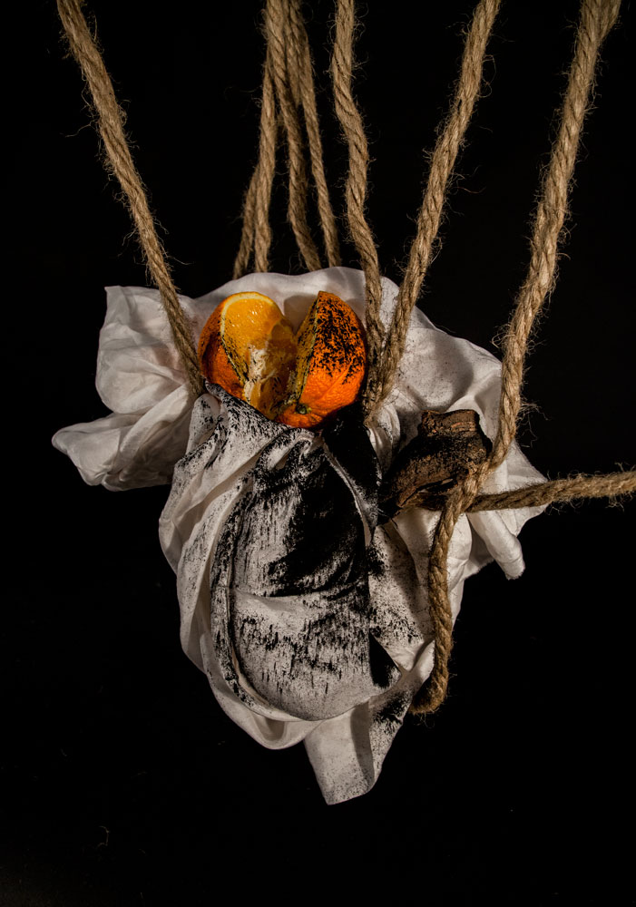 silk, orange, charcoal,wood, rope, 2014 © veronica a. perez