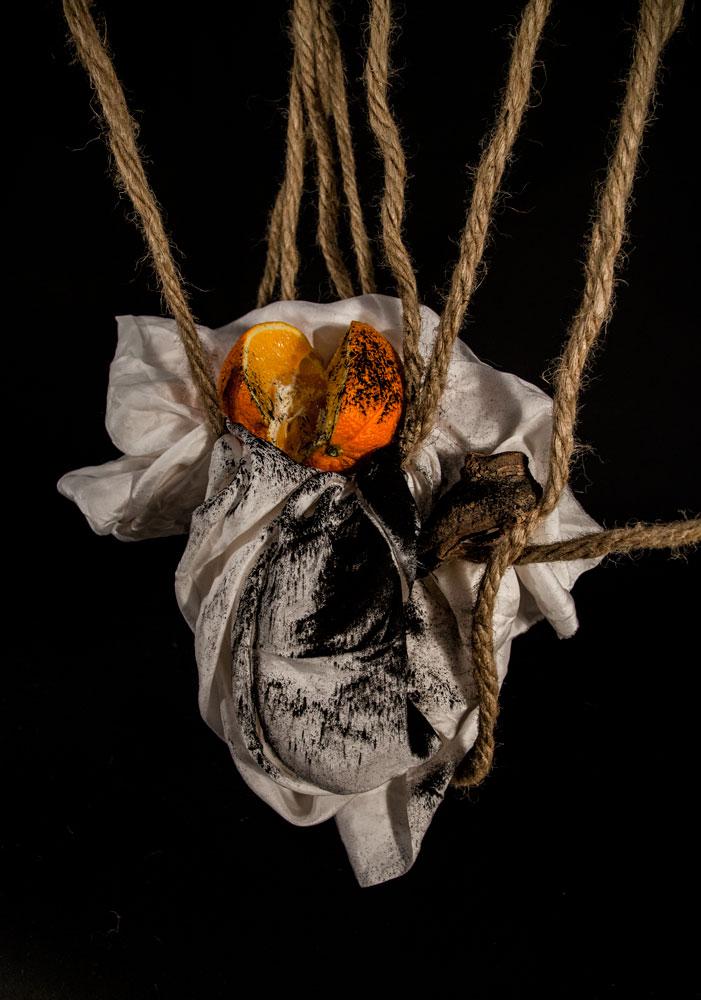 silk, orange, charcoal,wood, rope, 2014 © veronica a. perez